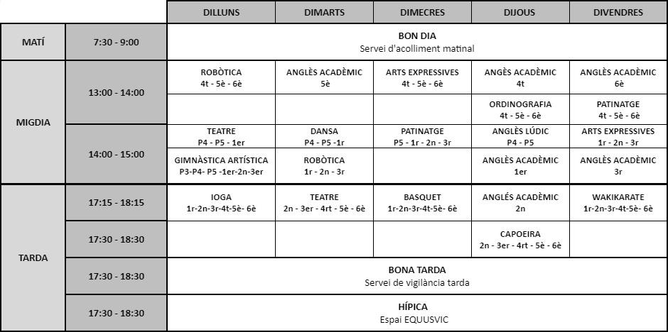 Inscripció Extraescolars 2021-22